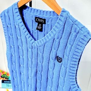 Chaps Vintage Blue Cable Knit Boys Vest Size 8